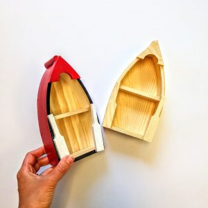 Wooden Canoe with shelf for decorating